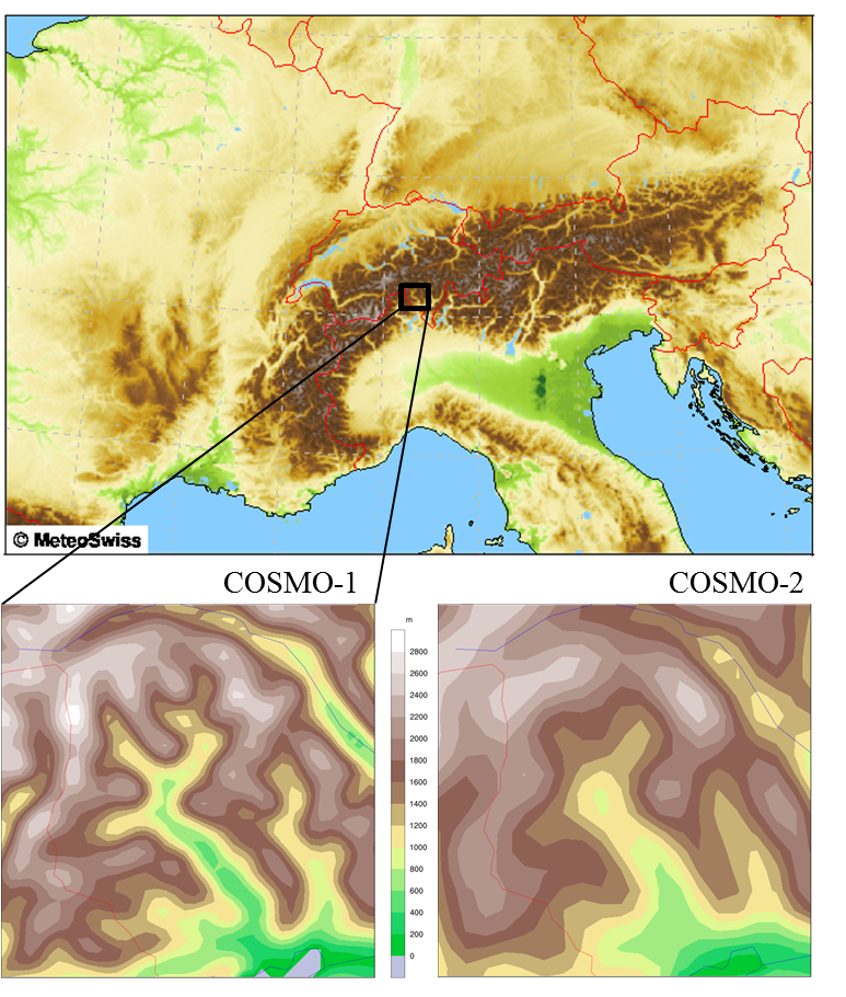Enlargement: Figure 1: View of the COSMO-1 model area; and the detailed images of the Valle Maggia produced by COSMO-1 (left) and COSMO-2 (right).