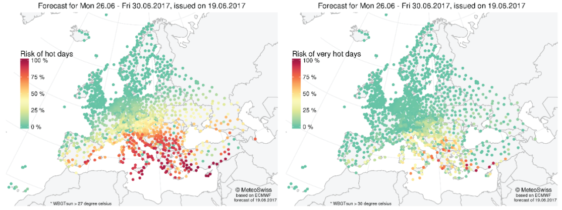 Enlargement: Figure 2: Weekly heat stress risk probabilities for hot (left, WBGT> 27 °C) and very hot (right, WBGT > 30 °C) days for different European stations. This example corresponds to the forecast for the week between 26th and 30th of June, issued on the 19th of June.