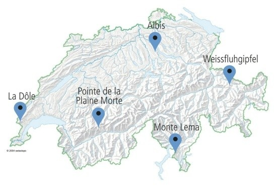 Enlargement: A map of Switzerland showing the five locations of Swiss radar stations, Pointe de la Plaine Morte, Weissfluhjoch, Albis, Monte Lema, La Dôle.