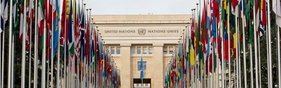 The façade of the Palais des Nations in Geneva with flags.