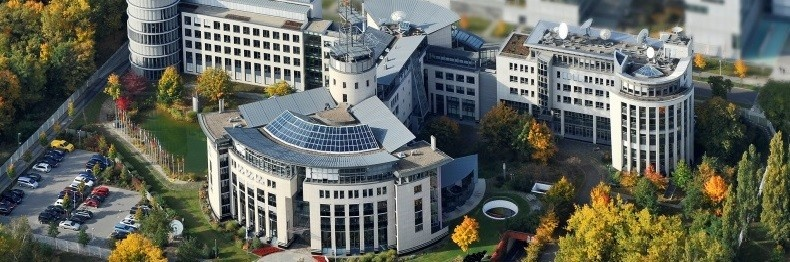 Aerial view of the EUMETSAT headquarters in Darmstadt, Germany