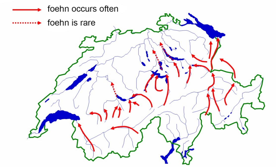 Enlargement: Positions and flow directions for foehn valleys - southern foehn.