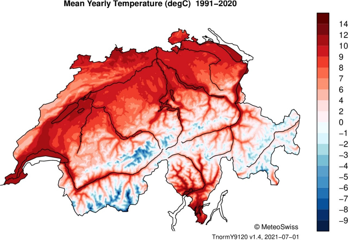 Enlargement: Map of Switzerland with colour-coded temperature data. The highest average values (around 11 °C) are shown in Tecino and the Lake Geneva region, the lowest (-9 °C) in the high Alpine massifs in Valais.