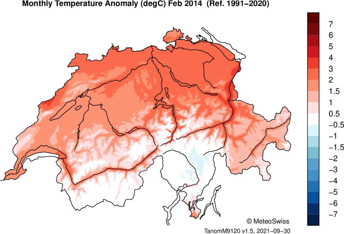 Enlargement: Map of Switzerland with colour-coded temperature data.