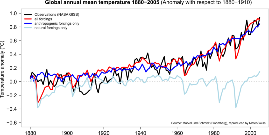 Enlargement: Global temperature rise with and without human influence.