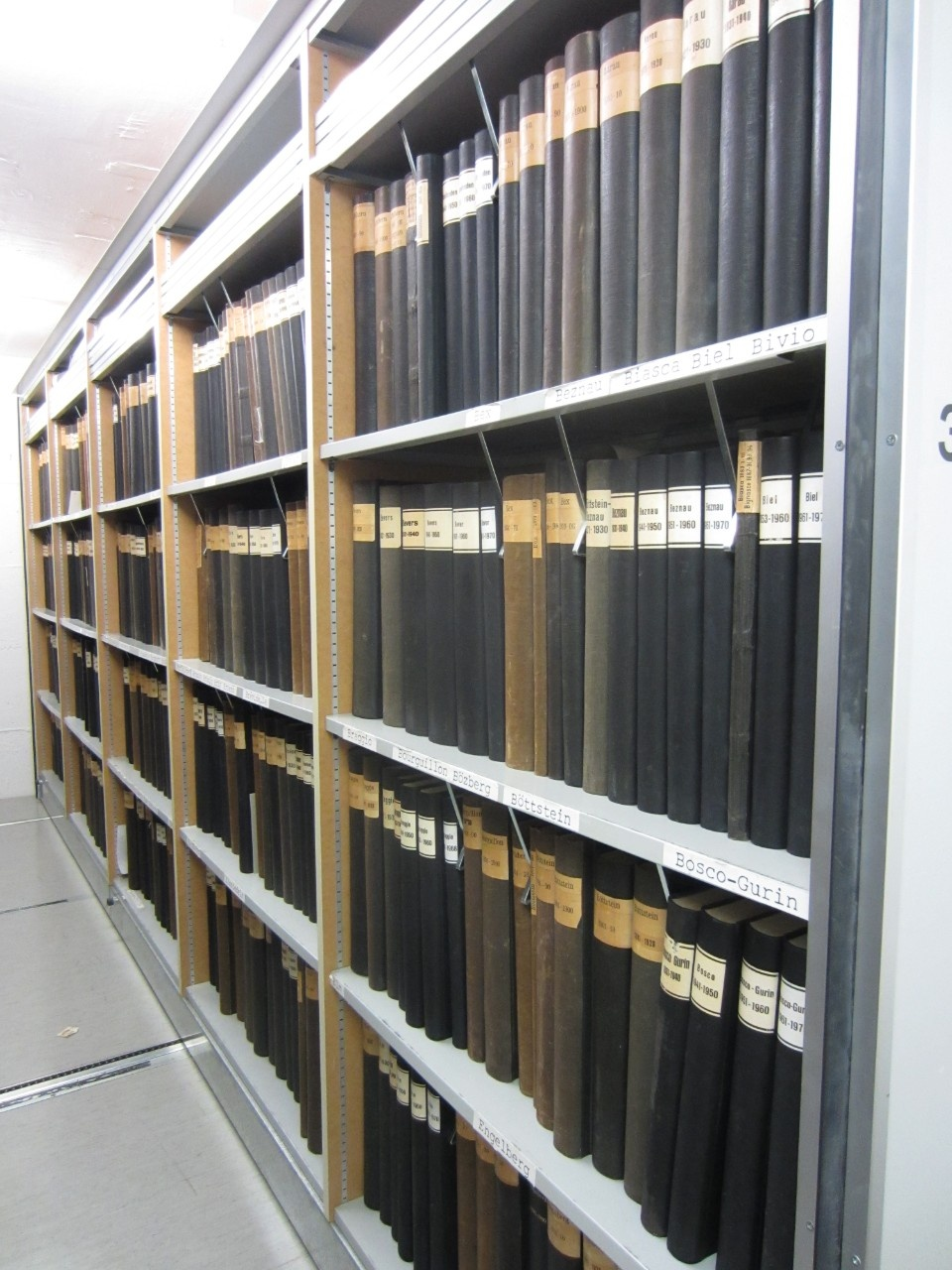 Enlargement: Black books with titles containing the original climate records at MeteoSwiss arranged on a shelf before the transfer to the Federal Archive