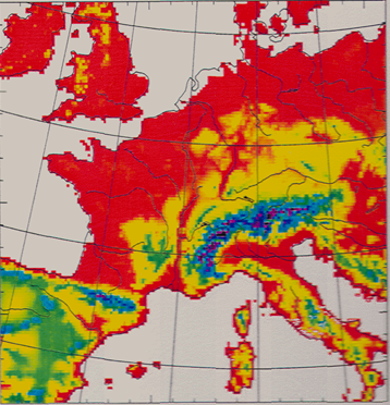 Enlargement: Introduction of the first numerical weather prediction model at MeteoSwiss (mesh size of 14km)